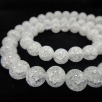 Cracked Glass 8mm Round Beads