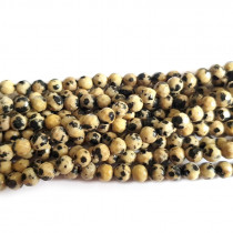 Dalmation Jasper 4mm Faceted Round Beads