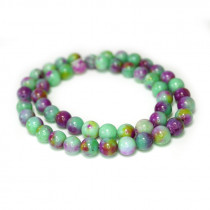 Dyed Jade Green/Purple Multicolour 8mm Round Beads