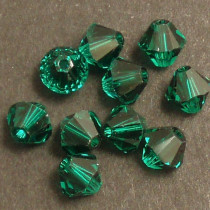 Swarovski® 4mm Emerald Bicone Xilion Cut Beads (Pack of 10)