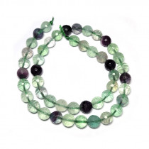 Fluorite 8mm 128 Faceted Round Beads