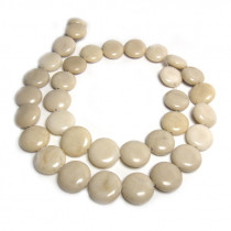 Fossil Stone 12mm Coin Beads