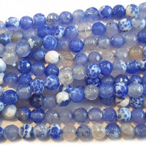 Fire Agate Sky Blue 6mm Faceted Round Beads