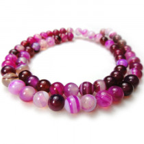 Fuchsia Agate 6mm Round Beads