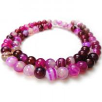 Fuchsia Agate 6mm Round Beads