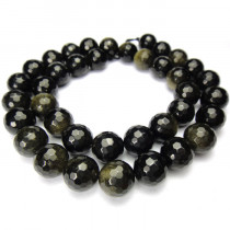 Golden Rainbow Obsidian 10mm Faceted Round Beads