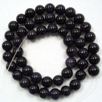 Blue Goldstone 8mm Round Beads
