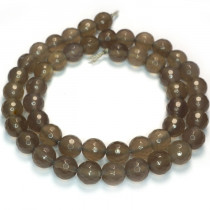 Grey Agate 8mm Faceted Round Beads