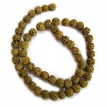 Dyed Lava Rock Tuscan Gold 6mm Round Beads