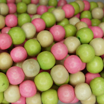 Natural White Wood Mixed Colour Beads - Lime, Rose Pink and Natural