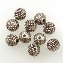 Tibetan Silver 9mm Beads (Pack 10)