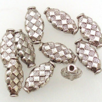 Tibetan Silver Oval Beads (Pack 10)