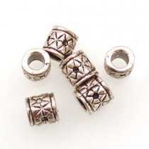 Tibetan Silver 10x9mm Beads (Pack 6)