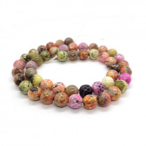 Fire Agate Multi-Colour 8mm Faceted Round Beads-087-7