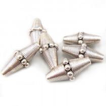 Tibetan Silver 22mm x 10mm Studded Bicone Beads
