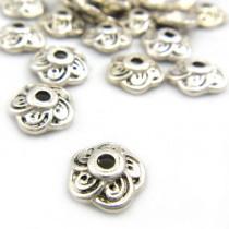 Tibetan Silver 9mm Flower Bead Caps