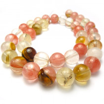 Mixed Colour Cherry Quartz 10mm Round Beads