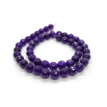 Malay Jade Amethyst Faceted 8mm Round Beads