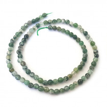 Moss Agate Faceted 4mm Round Beads