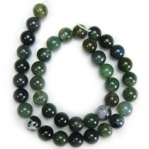 Moss Agate 10mm Round Beads