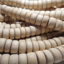 Natural White Wood Rondelle Wood Beads
