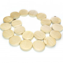 Natural White Wood Flat Round Beads