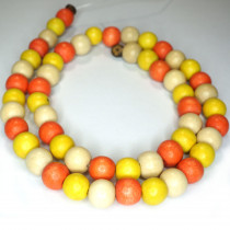 Natural White Wood Mixed Colour Beads - Orange, Yellow and Natural