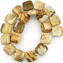 Picture Jasper 20mm Square Beads