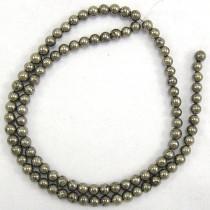 Pyrite 4mm Round Beads