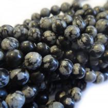 Snowflake Obsidian 4mm Round Beads