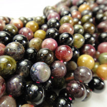 Multicolour Tourmaline 8mm Round Beads