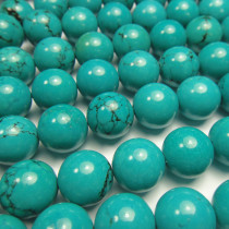 Stabilised Turquoise 12mm Round Beads