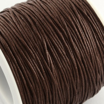 Dark Brown Waxed Cotton Cord 1mm 74M Roll