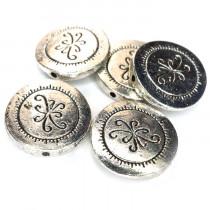 Tibetan Silver 17x3mm Disc Beads (Pack 5)