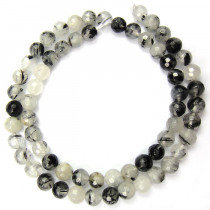 Black Rutilated Quartz 6mm Faceted Round Beads