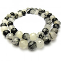 Black Rutilated Quartz 8mm Faceted Round Beads