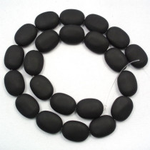 Black Stone (Matte) 13x18mm Oval Beads