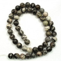Black Veined Jasper 8mm Round Beads