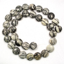 Black Veined Jasper 12mm Coin Beads