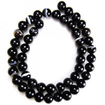 Brazilian Black Sardonyx 8mm Round Beads