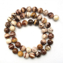 Brown Zebra Jasper 8mm Round Beads