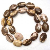 Brown Zebra Jasper 13x18mm Oval Beads