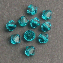 Swarovski® 4mm Blue Zircon Bicone Xilion Cut Beads (Pack of 10)