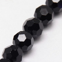 Black 8mm Faceted Round Glass Beads