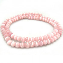 Cats Eye Pink 4mm Round Beads