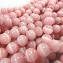 Cats Eye Pink 8mm Round Beads