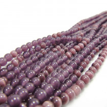 Cats Eye Deep Purple 4mm Round Beads