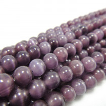 Cats Eye Deep Purple 6mm Round Beads