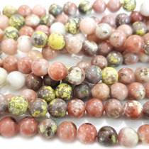 Cherry Blossom Jasper 8mm Round Beads