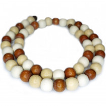 Natural White Wood Mixed Colour Beads - Copper, White and Natural